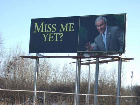 A billboard somewhere in America, just a couple of years after 2008