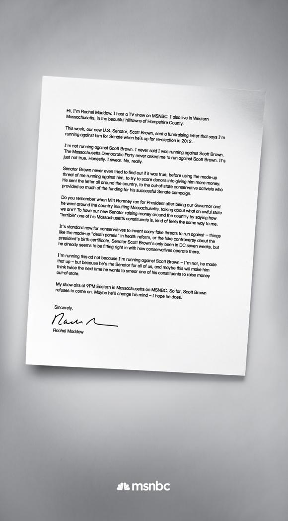 No Scott Its Not Working >> Rachel Maddow S Boston Globe Ad I M Not Running Against Scott Brown