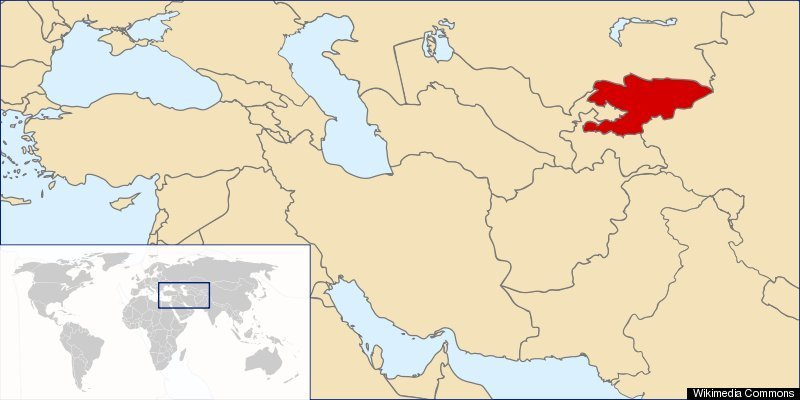 Kyrgyzstan MAP: Potion, Facts About Asian Nation | HuffPost on russia world map, latvia world map, myanmar on world map, sudan world map, pakistan on world map, spain world map, nepal world map, lebanon world map, laos world map, iceland world map, azerbaijan world map, sierra leone world map, liberia world map, philippines world map, lesotho world map, mongolia world map, romania world map, malaysia world map, uzbekistan world map, somalia world map,