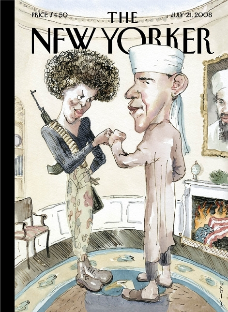 Image result for The New Yorker picture of Obama and Michele