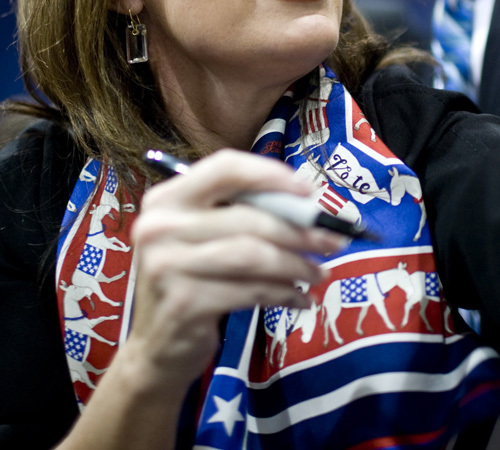 Sarah Palin Scarf: Donkeys? Vote Democrat?
