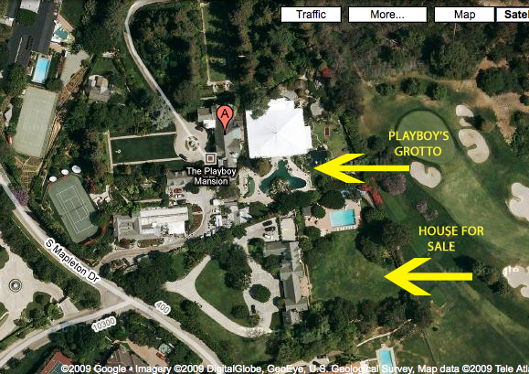 above the two homes the playboy mansion s backyard appears to have