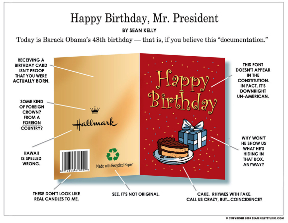 Obamas Birthday Cards From Birthers Pics Huffpost